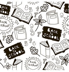 black and white school doodle pattern vector image vector image
