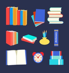 books set icon in flat design style vector image vector image