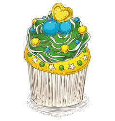 decorated cupcake with candy vector image vector image