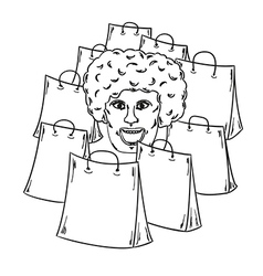 few bags for shopping and woman face vector image