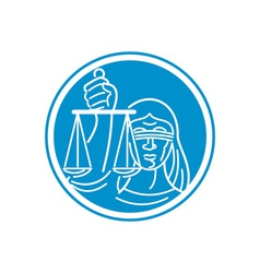 Lady Blindfolded Hold Scales Justice Circle vector image vector image