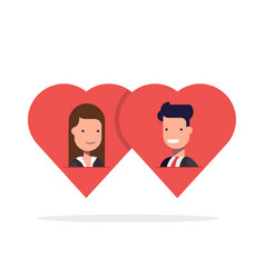 man and woman in love in two hearts together vector image vector image