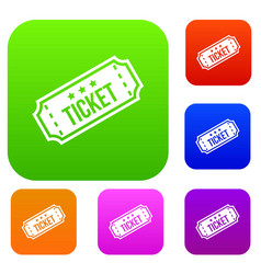 movie ticket set collection vector image vector image