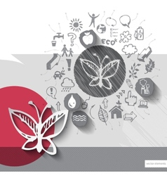Paper and hand drawn butterfly emblem with icons vector image vector image
