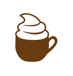 brown cup of cappuccino with cream vector image vector image