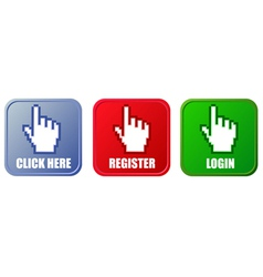 buttons - click here register and login vector image vector image