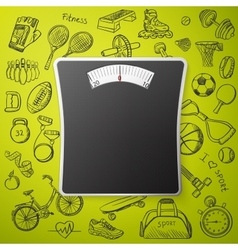 scales and hand draw sport icon vector image
