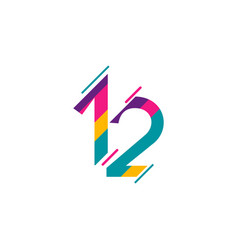 12 years anniversary celebration full color vector