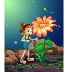 A small girl watering the giant plant vector