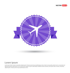 airplane icon - purple ribbon banner vector image