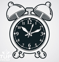 Alarm clock 3d black and white wake up conc vector image