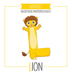 alphabet letter l and lion vector image