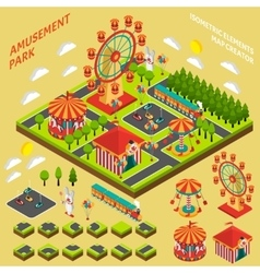 Amusement park isometric map creator composition vector