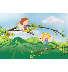 Angels at branch a tree vector