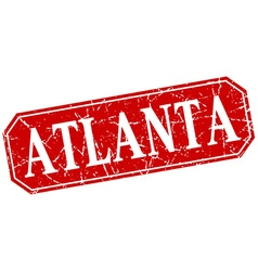 Atlanta red square grunge retro style sign vector