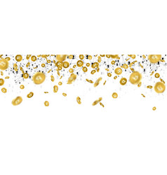 banner with falling gold bitcoins vector image