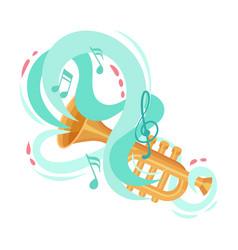 Bass horn musical instrument vector