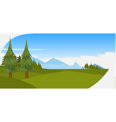 beautiful pine trees green forest mountains and vector image