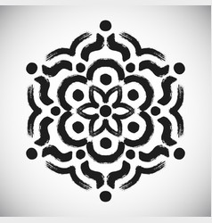 Black painted flower logo vector