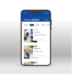 Blue design school ui ux gui screen for mobile vector