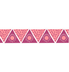boho style pink triangles seamless border vector image