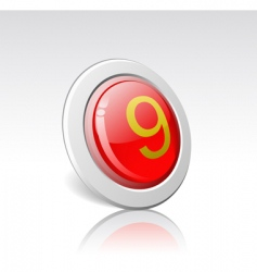 button with the number 9 vector image vector image