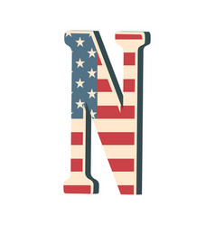 Capital 3d letter n with american flag texture vector