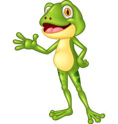 cartoon adorable frog waving hand vector image