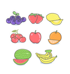 cartoon fruit set and hand drawn style vector image