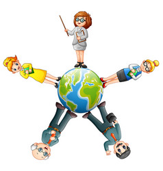 cartoon people standing around the globe vector image