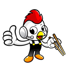 Cartoon rooster character is best gestured vector