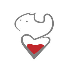 cat and heart symbol icon vector image