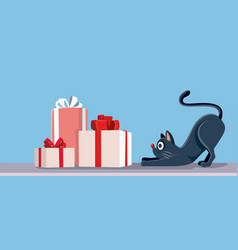 cat looking at christmas presents banner vector image