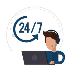 Character male call center support 24-7 vector