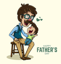cheerful father playing with his son vector image