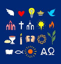 Christian symbols and icons drawn hand vector