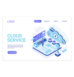 Cloud service landing page isometric vector
