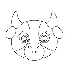 cow muzzle icon in outline style isolated on white vector image