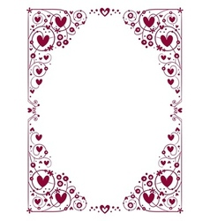 Decorative hearts frame vector