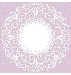 decorative pink vintage card with a pattern vector image