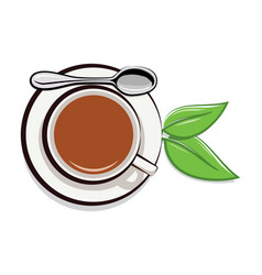 drawing of cup of tea and green leaves vector image
