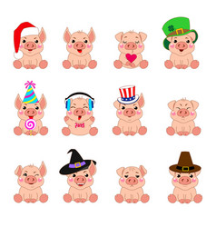 emotions cartoons pigs vector image