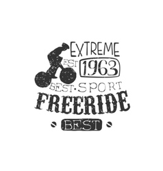 Extreme Freeride Vintage Label With Rider vector
