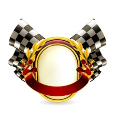 Flag checkered emblem vector image
