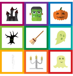 flat icon celebrate set of monster spirit vector image