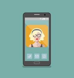 Girl in glasses app icon on vector