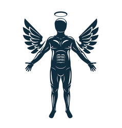 Graphic muscular human made using angelic bird vector