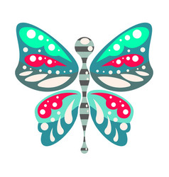 green and blue cartoon butterfly isolated vector image