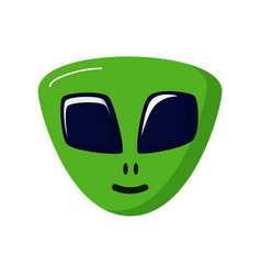 Green stranger smiling alien life ufo space vector