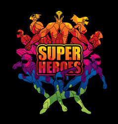 Group super heroes with text super heroes vector